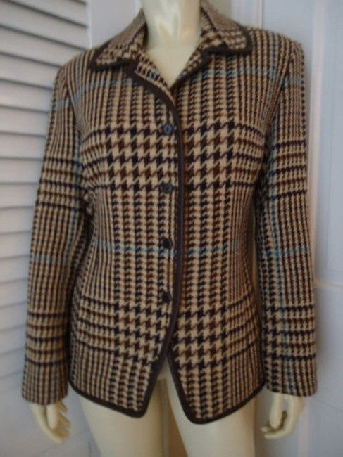 Preload https://img-static.tradesy.com/item/14203483/juliana-collezione-blazer-wool-brown-tan-blue-houndstooth-faux-leather-piping-0-0-650-650.jpg