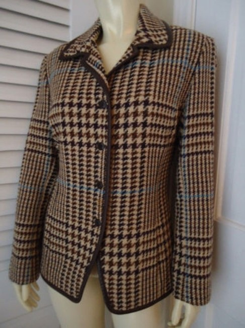 Juliana Collezione Juliana Collezione Blazer Wool Brown Tan Blue Houndstooth Faux Leather Piping Image 1