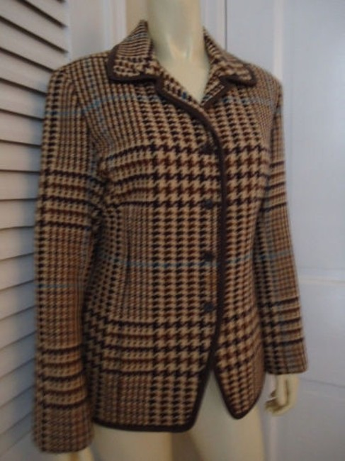 Juliana Collezione Juliana Collezione Blazer Wool Brown Tan Blue Houndstooth Faux Leather Piping Image 3