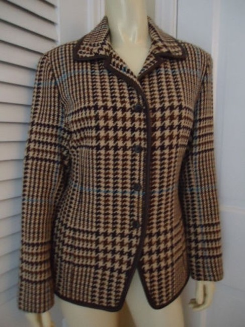 Juliana Collezione Juliana Collezione Blazer Wool Brown Tan Blue Houndstooth Faux Leather Piping Image 4