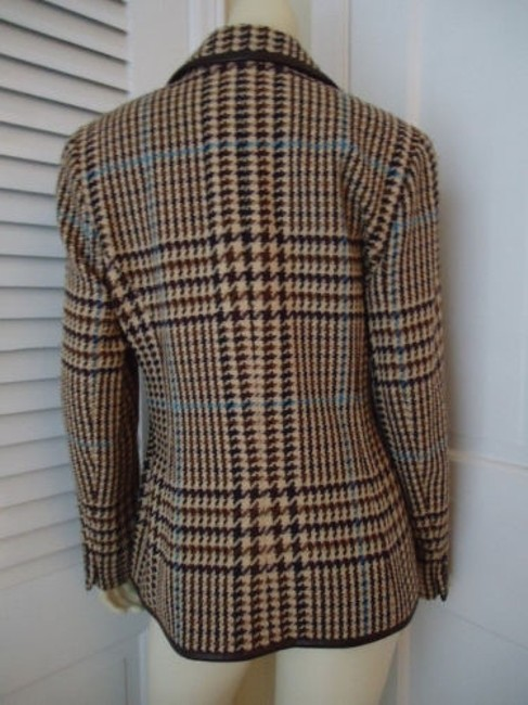 Juliana Collezione Juliana Collezione Blazer Wool Brown Tan Blue Houndstooth Faux Leather Piping Image 5