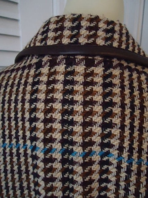 Juliana Collezione Juliana Collezione Blazer Wool Brown Tan Blue Houndstooth Faux Leather Piping Image 6