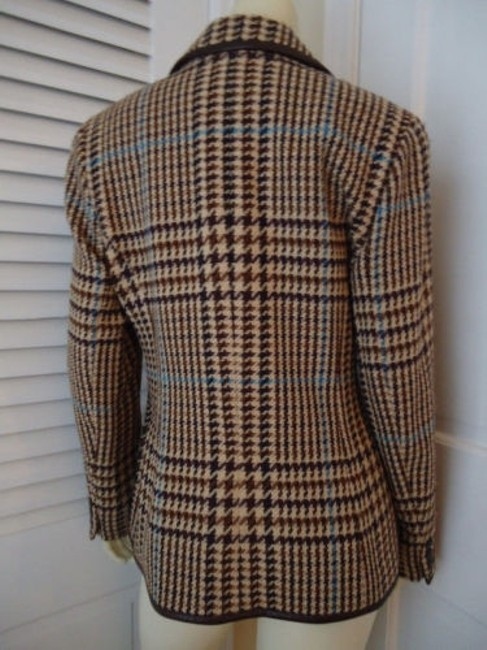 Juliana Collezione Juliana Collezione Blazer Wool Brown Tan Blue Houndstooth Faux Leather Piping Image 7