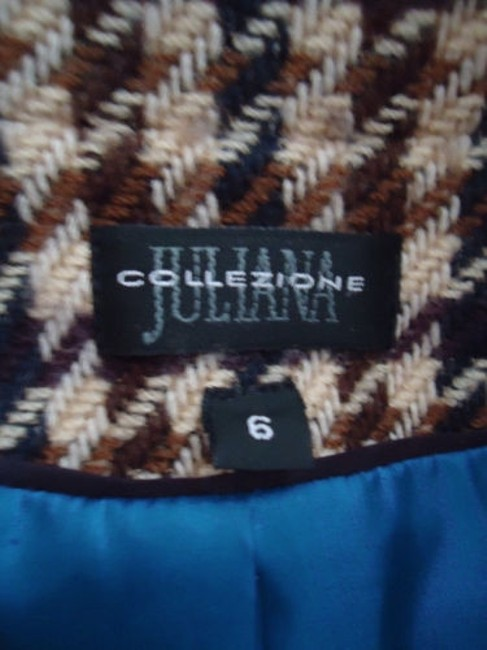 Juliana Collezione Juliana Collezione Blazer Wool Brown Tan Blue Houndstooth Faux Leather Piping Image 8