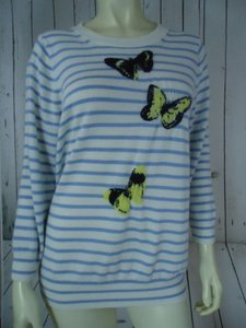J.Crew Striped Merino Wool Butterflies Unique Chic Sweater