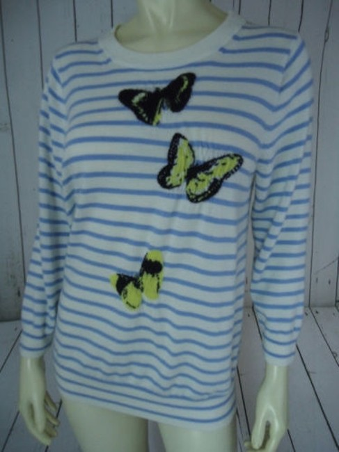 J.Crew Striped Merino Wool Butterflies Unique Chic Sweater Image 1
