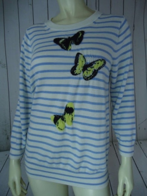 J.Crew Striped Merino Wool Butterflies Unique Chic Sweater Image 2