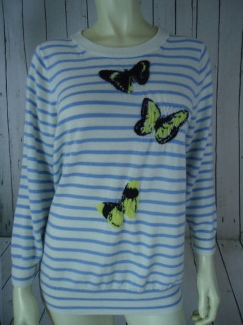 J.Crew Striped Merino Wool Butterflies Unique Chic Sweater Image 3