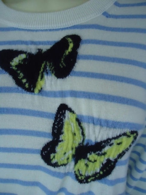 J.Crew Striped Merino Wool Butterflies Unique Chic Sweater Image 4