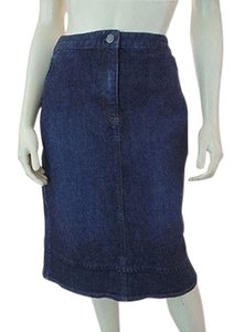 J. Jill Stretch Cotton Lycra Zip Button Front Pockets Boho Hot Skirt Blue Wash Denim