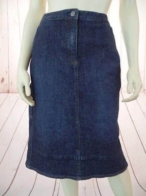 J. Jill Stretch Cotton Lycra Zip Button Front Pockets Boho Hot Skirt Blue Wash Denim Image 1