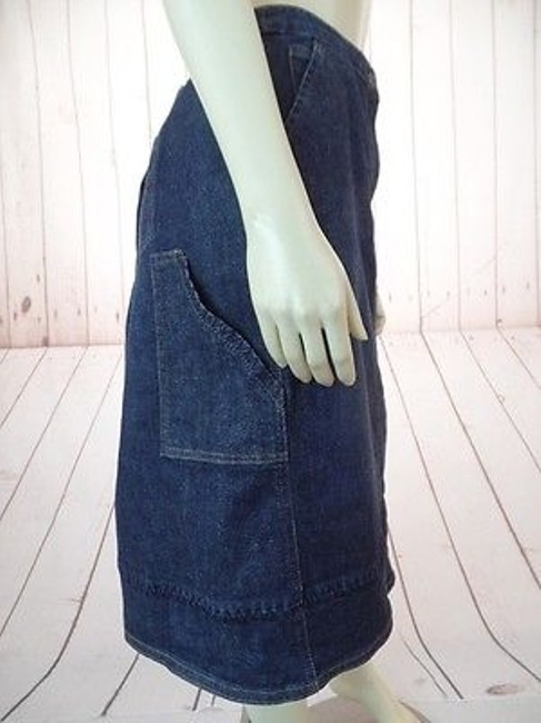 J. Jill Stretch Cotton Lycra Zip Button Front Pockets Boho Hot Skirt Blue Wash Denim Image 3