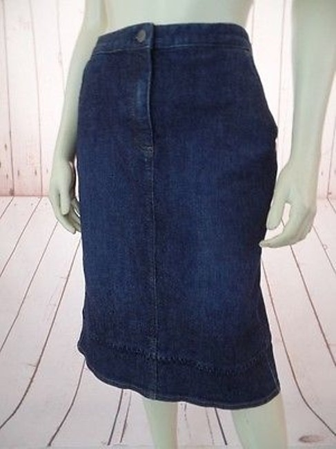 J. Jill Stretch Cotton Lycra Zip Button Front Pockets Boho Hot Skirt Blue Wash Denim Image 6