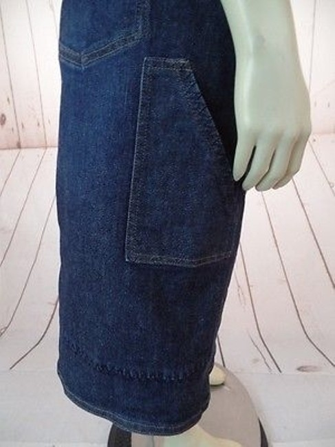 J. Jill Stretch Cotton Lycra Zip Button Front Pockets Boho Hot Skirt Blue Wash Denim Image 9