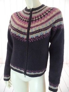 Isabella Bird Fair Isle Nordic Zip Lambswool Angora Nylon Chic Sweater