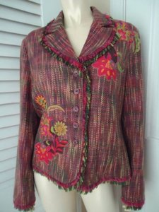 Other Harris Wallace Ny Blazer Acrylic Silk Fringe Floral Applique Boho Hippie Chic