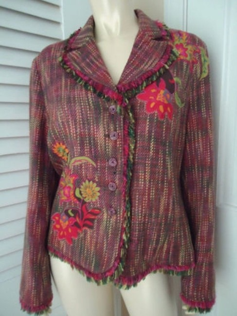 Other Harris Wallace Ny Blazer Acrylic Silk Fringe Floral Applique Boho Hippie Chic Image 0