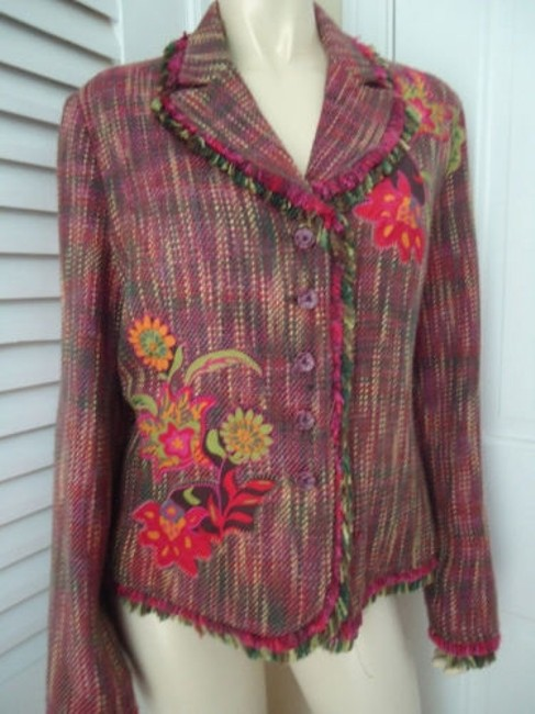 Other Harris Wallace Ny Blazer Acrylic Silk Fringe Floral Applique Boho Hippie Chic Image 2