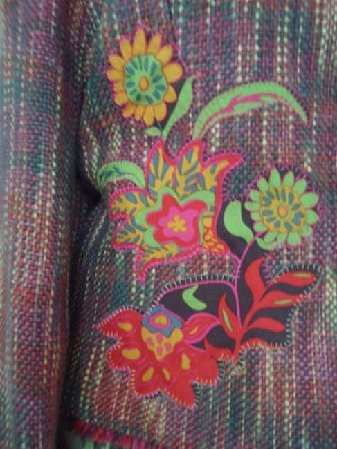 Other Harris Wallace Ny Blazer Acrylic Silk Fringe Floral Applique Boho Hippie Chic Image 3