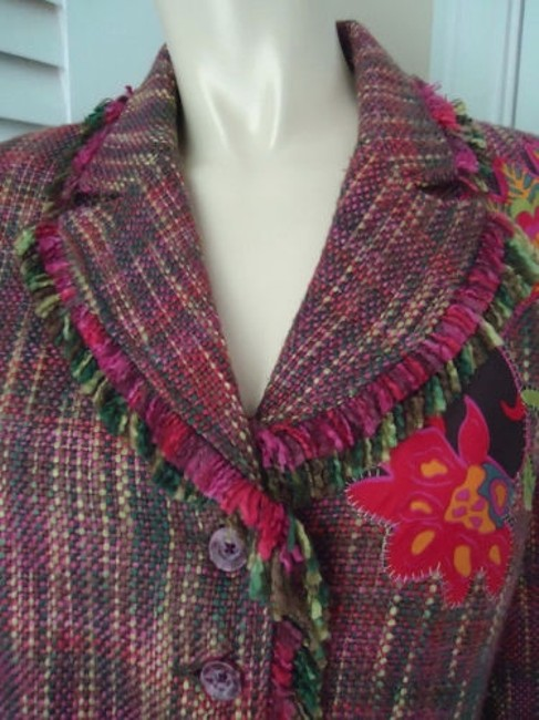 Other Harris Wallace Ny Blazer Acrylic Silk Fringe Floral Applique Boho Hippie Chic Image 5