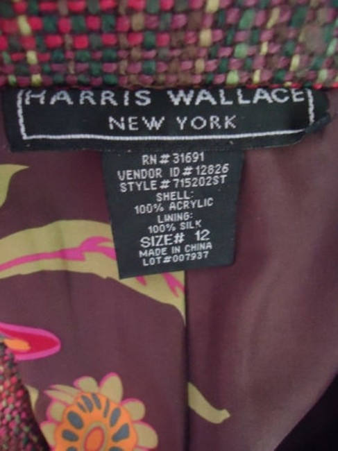 Other Harris Wallace Ny Blazer Acrylic Silk Fringe Floral Applique Boho Hippie Chic Image 9