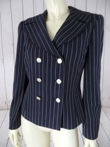 Carlisle Carlisle Blazer Navy White Pinstripe Wool Gabardine Lined Double Breasted Chic