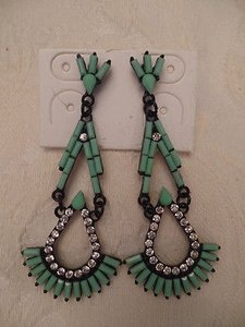 Costume Jewelry Drop Earrings Black Metal Art Deco Faux Turquoise Crystals New