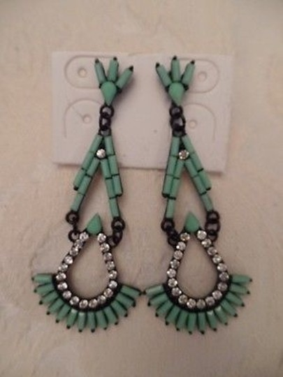 Other Costume Jewelry Drop Earrings Black Metal Art Deco Faux Turquoise Crystals New Image 1