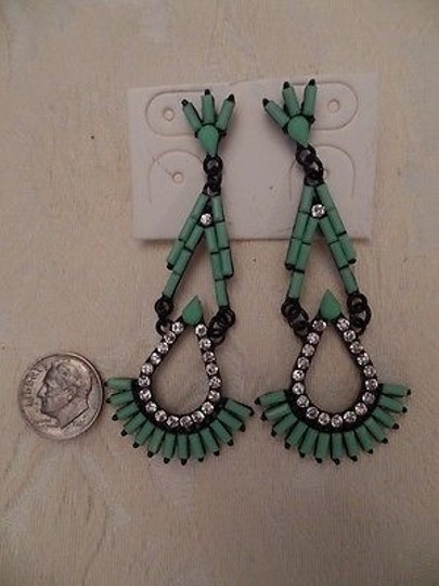 Other Costume Jewelry Drop Earrings Black Metal Art Deco Faux Turquoise Crystals New Image 3