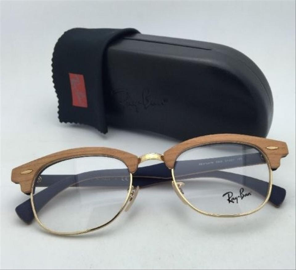 Ray-Ban Rb 5154-m 5559 Cherry Wood On Blue Frames New Clubmaster Rx ...