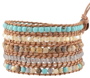Victoria Emerson Victoria Emerson Turquoise & Shell on Natural Leather Wrap Bracelet