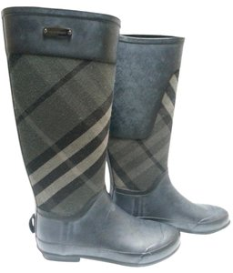 Burberry Rain Rubber Checker Charcoal Boots