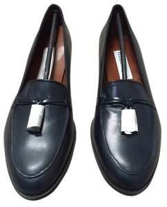 Etienne Aigner Leather Tassels Navy Flats