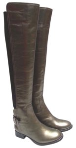 Tory Burch Leather Olive Metallic Boots
