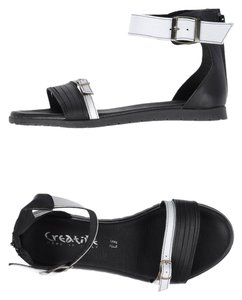 Creative Leather Buckles Straps Black White Sandals