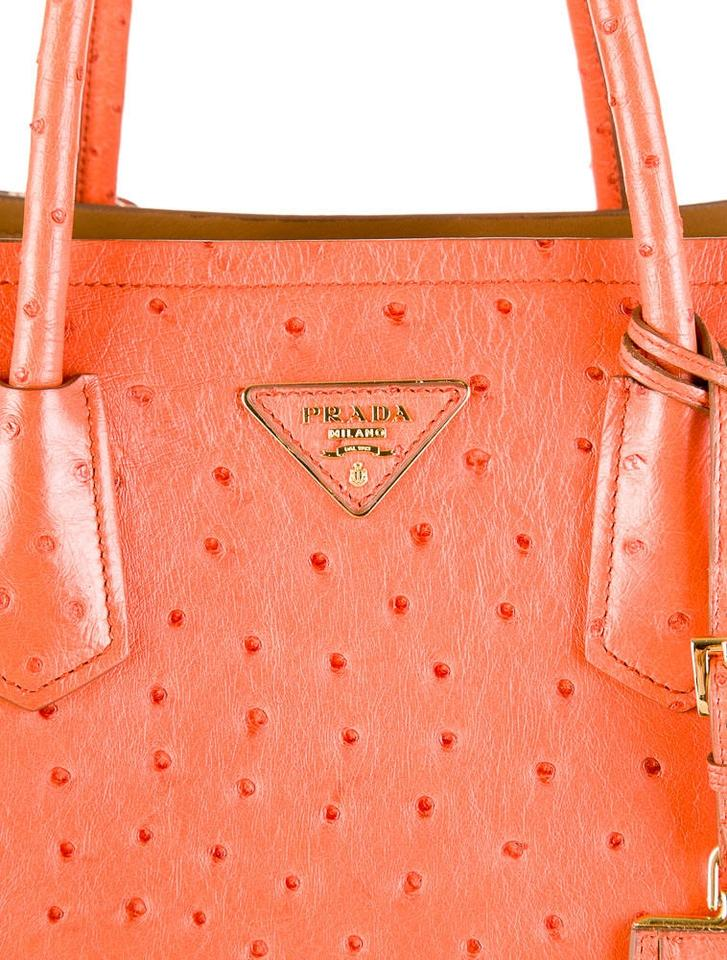 41a3428af28f Prada Double Tangerine Ostrich Leather Tote - Tradesy