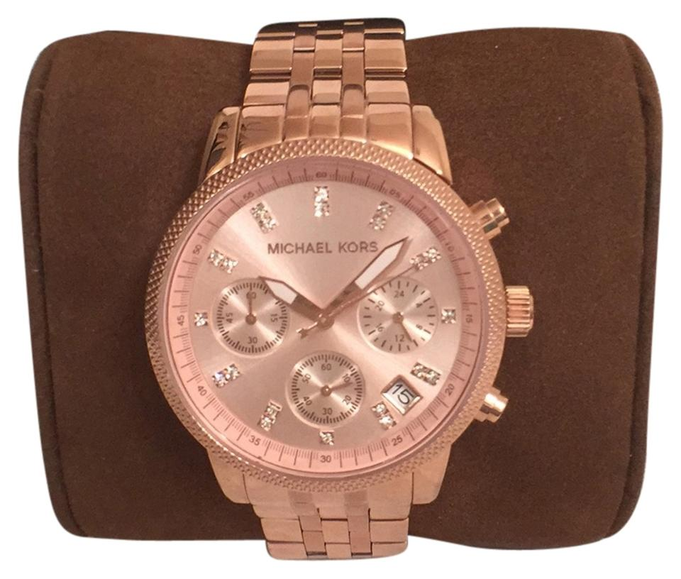 2ec71a699806 Michael Kors Rose Gold New Chronograph W Date Crystals Mk6077 Watch ...