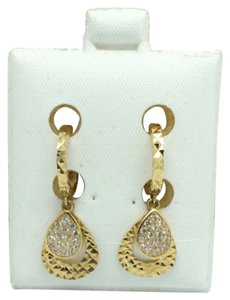 Other 18k Yellow Gold Diamond Cut Pear Shape CZ Dangling Earrings