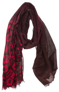 Gucci Gucci Red Leopard Print Guccissima Interlocking GG Scarf