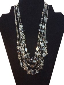 White House | Black Market Multi-strand Black and Crystal Necklace