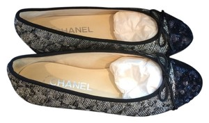 Chanel Ballet Silver Black Blue Flats
