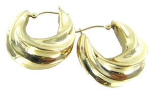 Other 14KT KARAT YELLOW GOLD EARRINGS HOOP TWISTED 3.7 GRAMS MADE IN ISRAEL FINE JEWEL