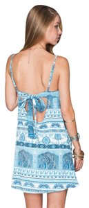 Show Me Your Mumu short dress Boho Blue Tie Back on Tradesy