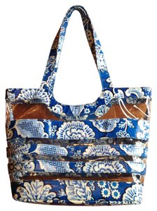 Vera Bradley Beach Vinyl Tote in Blue, White