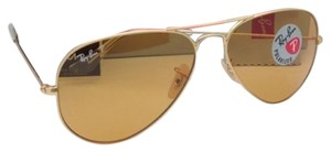 Ray-Ban Polarized Ray-Ban Sunglasses RB 3025 Large Metal 112/O6 Gold Frame w/Brown-Orange lenses
