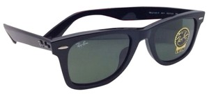 Ray-Ban New RAY-BAN WAYFARER Sunglasses RB 2140-F 901 52-22 Black Frame w/ Green Lenses