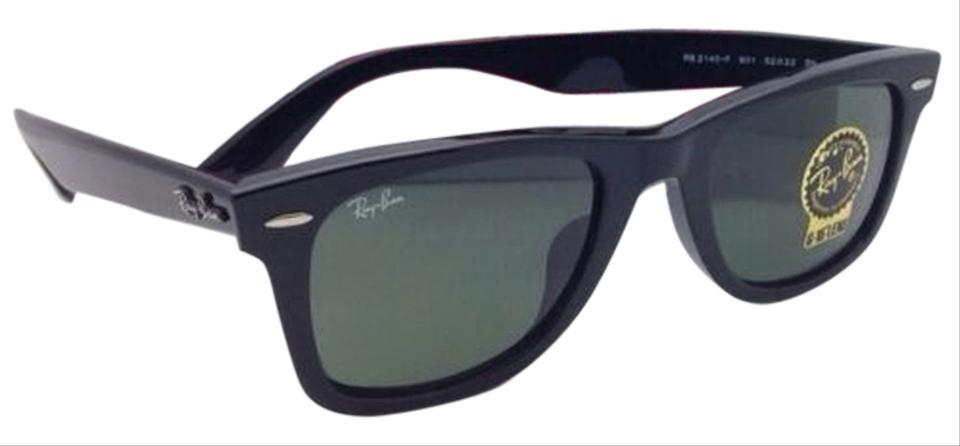 0104f38198f Ray-Ban Wayfarer Rb 2140-f 901 52-22 Black Frame W  Green Lenses New ...