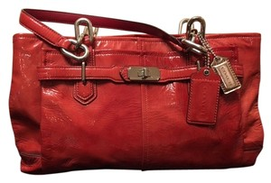 Coach Couch Leather Hardware Satchel in Red