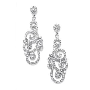 Mariell Vintage Jewel Encrusted Wedding Or Prom Earring 3478e