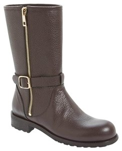 Jimmy Choo Pumps Motorcycle Moto Lugg Brown Boots